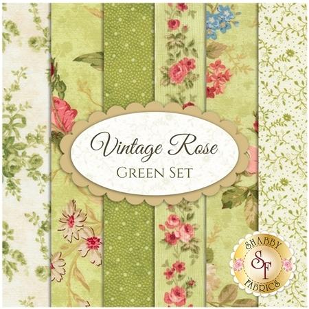 Vintage Rose  6 FQ Set - Green Set by Deborah Edwards for Northcott Fabrics
