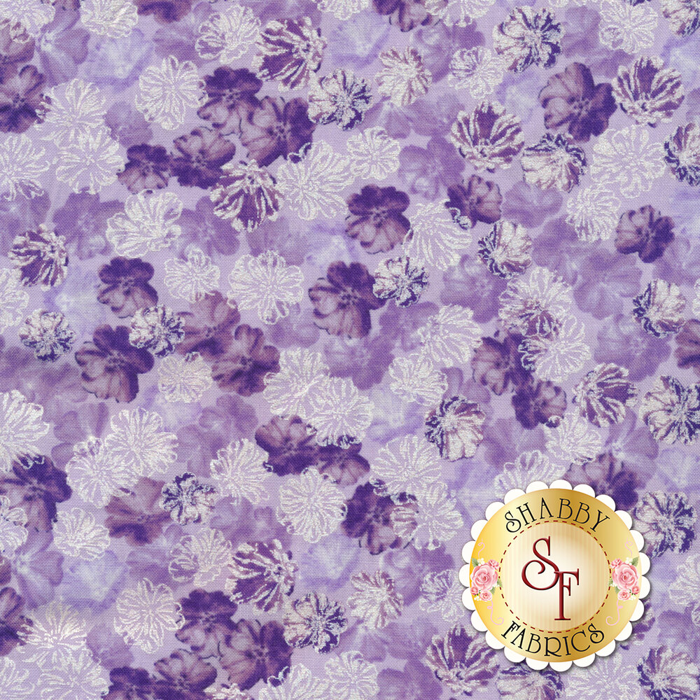 Purple flowers with pearlescent accents on light purple   Shabby Fabrics