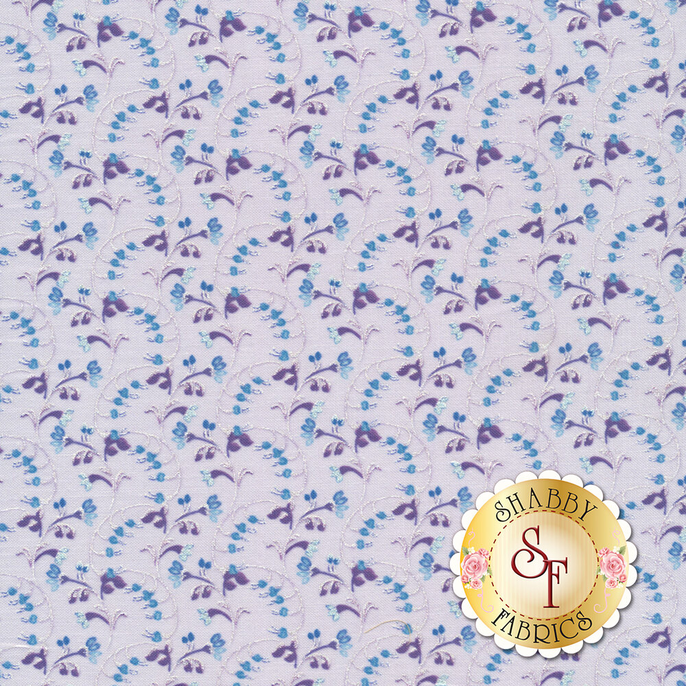 Silver pearlescent scroll design on light purple | Shabby Fabrics