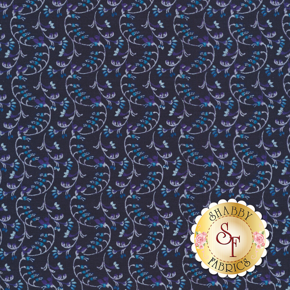 Silver pearlescent scroll design on navy blue | Shabby Fabrics