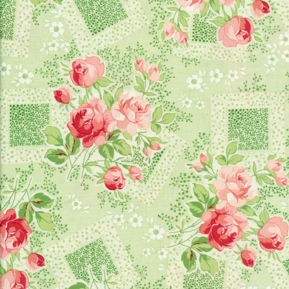 Fabric featuring stunning roses with geometric shapes on a green background| Shabby Fabrics