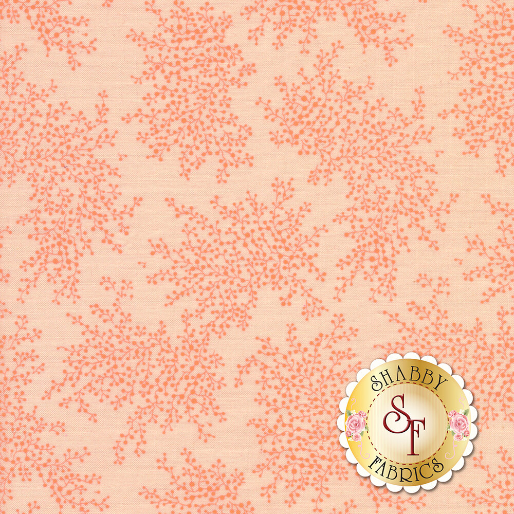 A beautiful pink tonal fabric with patches of vines and flower bulbs