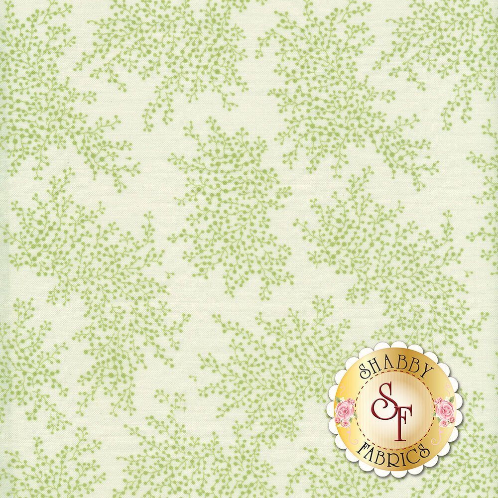 A beautiful light green tonal fabric with patches of vines and flower bulbs
