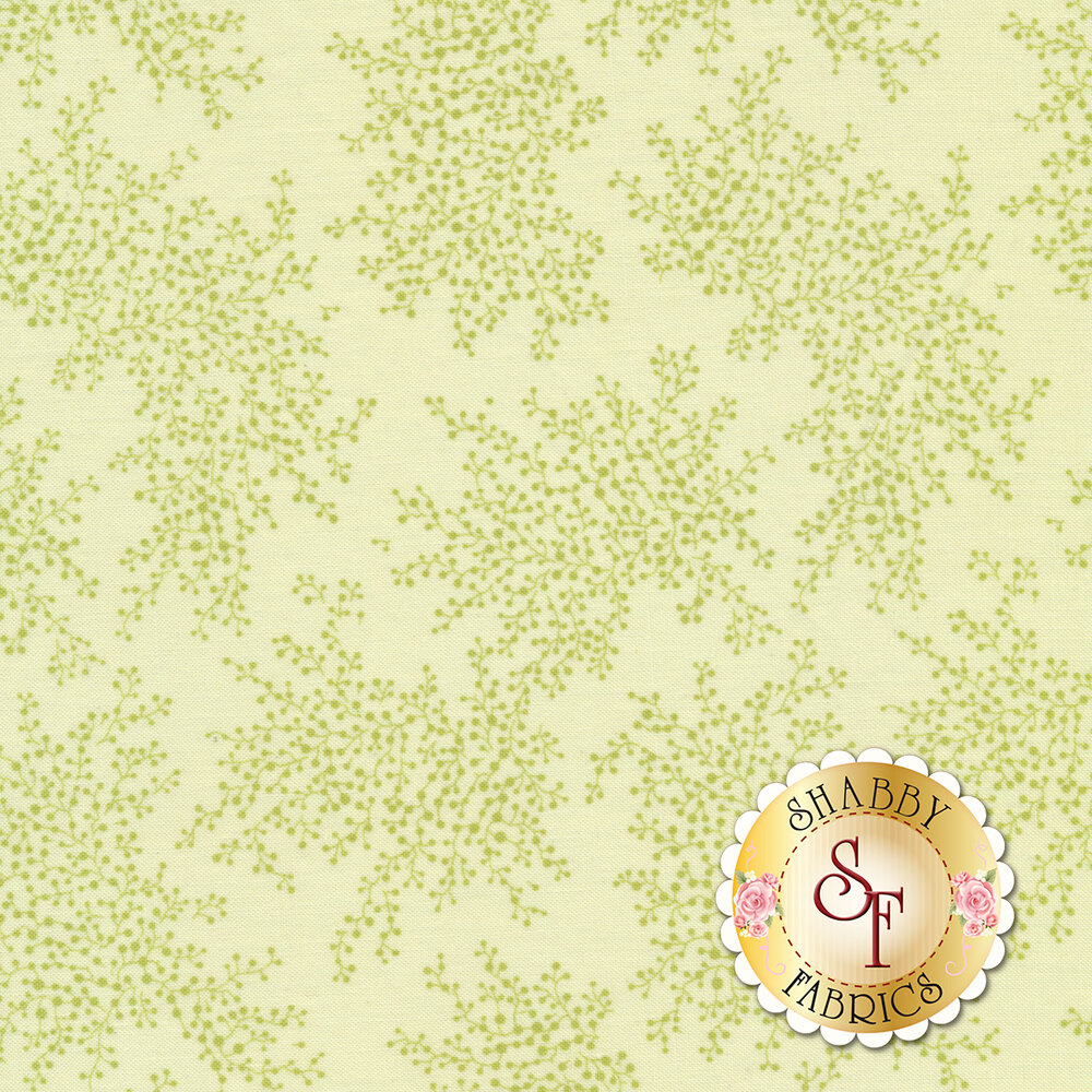 A beautiful green tonal fabric with patches of vines and flower bulbs