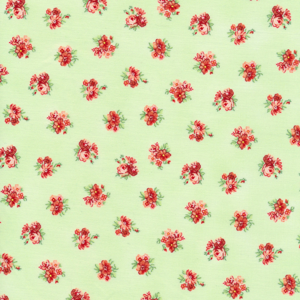 Stunning tossed roses and flowers on a green background | Shabby Fabrics