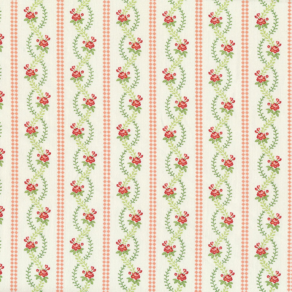 Pink stripes next to wavey vines and roses on a white background | Shabby Fabrics