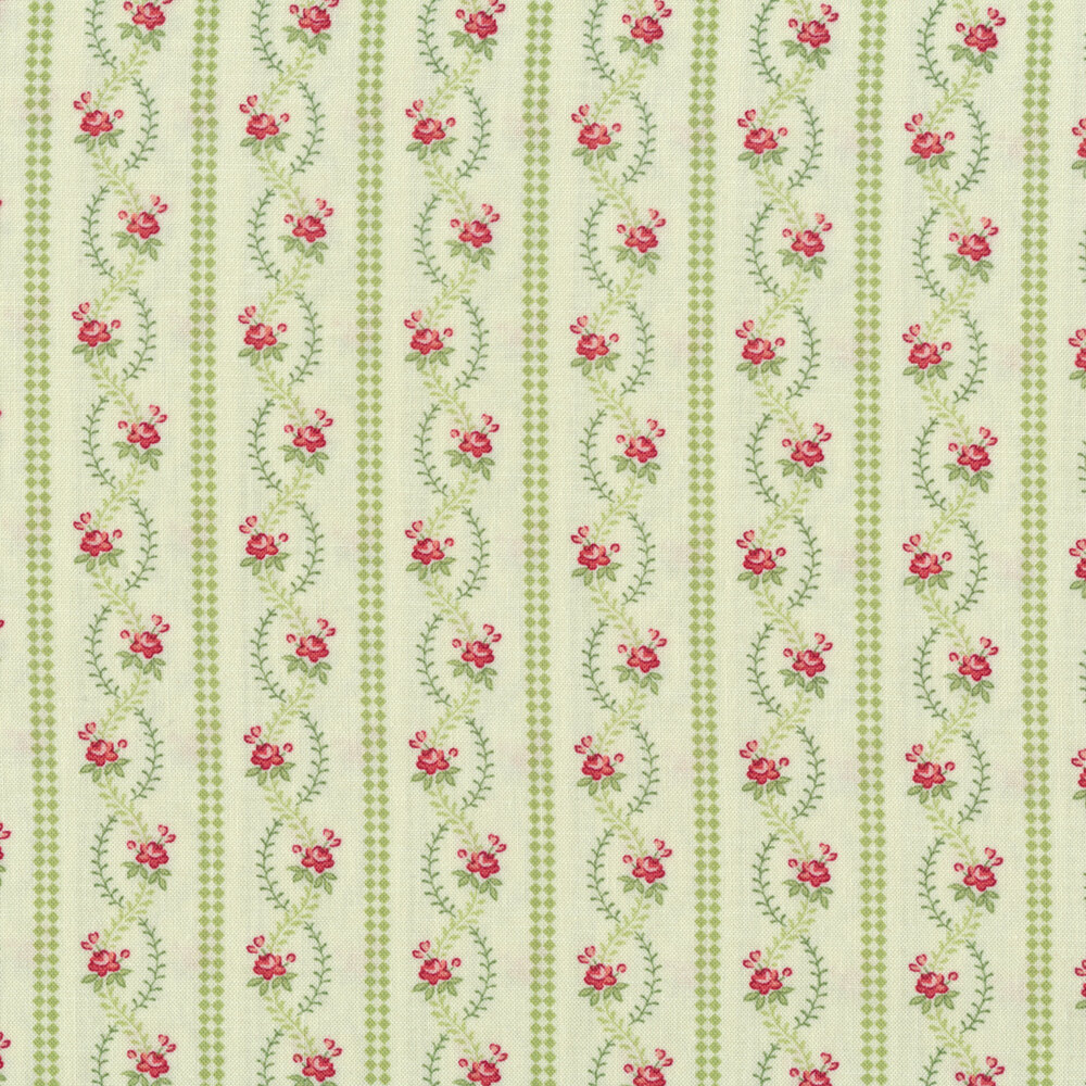 Green stripes next to wavey vines and roses on a mint background | Shabby Fabrics