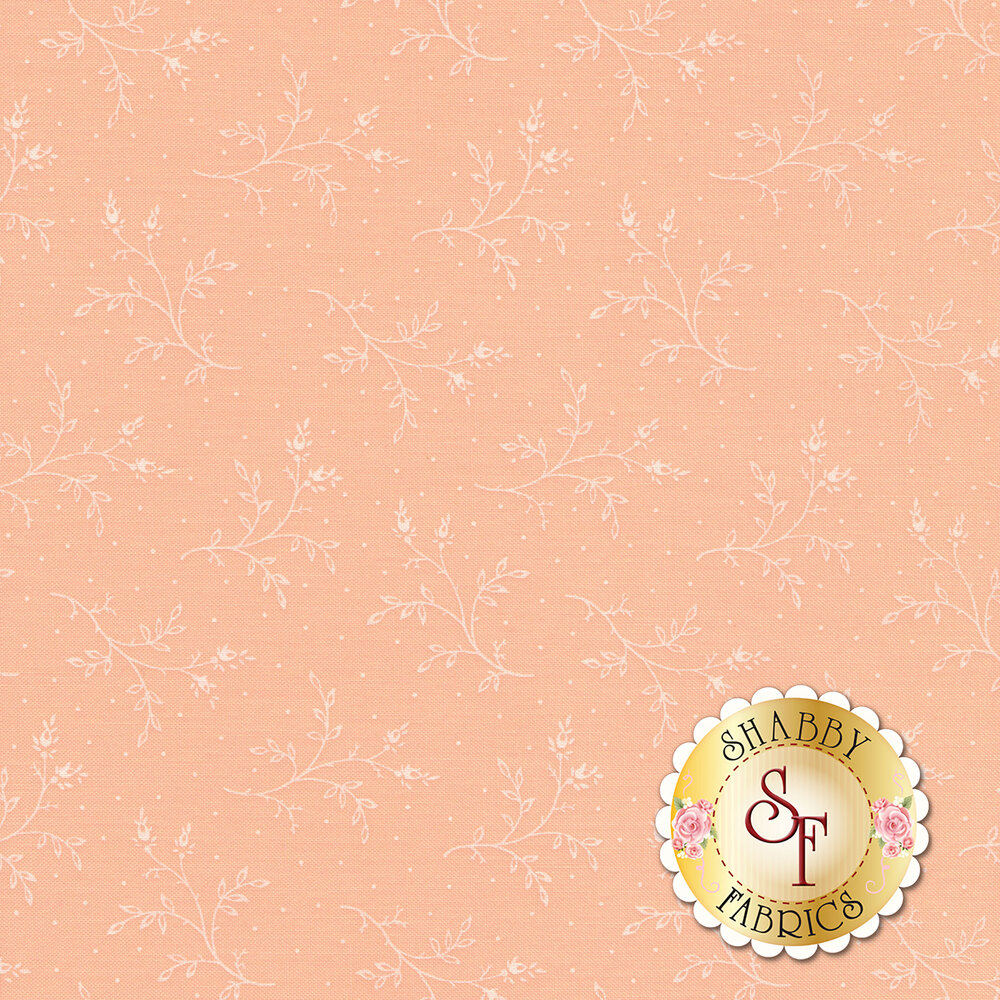 Tossed white sprigs on a coral background with small white dots | Shabby Fabrics