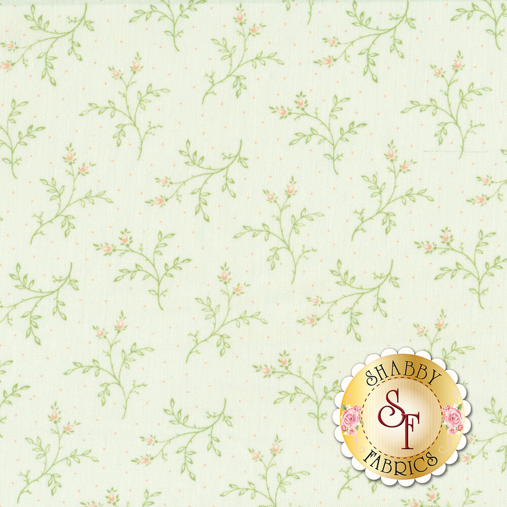 Tossed green sprigs on a white background with small pink dots   Shabby Fabrics