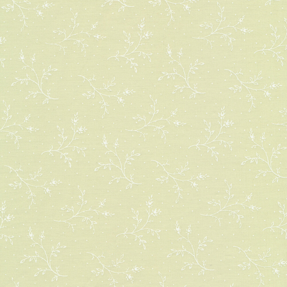 Tossed white sprigs on a mint green background with small white dots   Shabby Fabrics