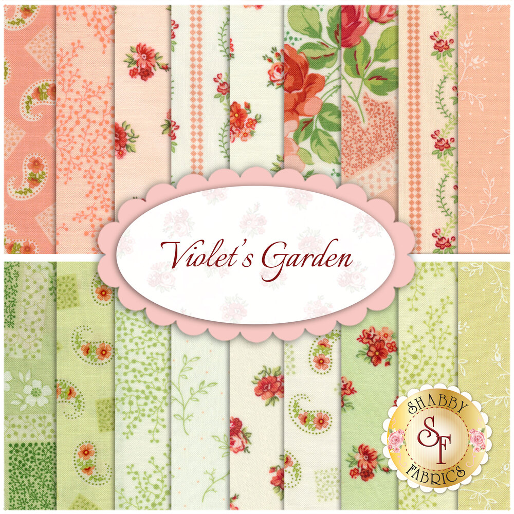 A collage of the beautiful fabrics included in the Violet's Garden collection | Shabby Fabrics