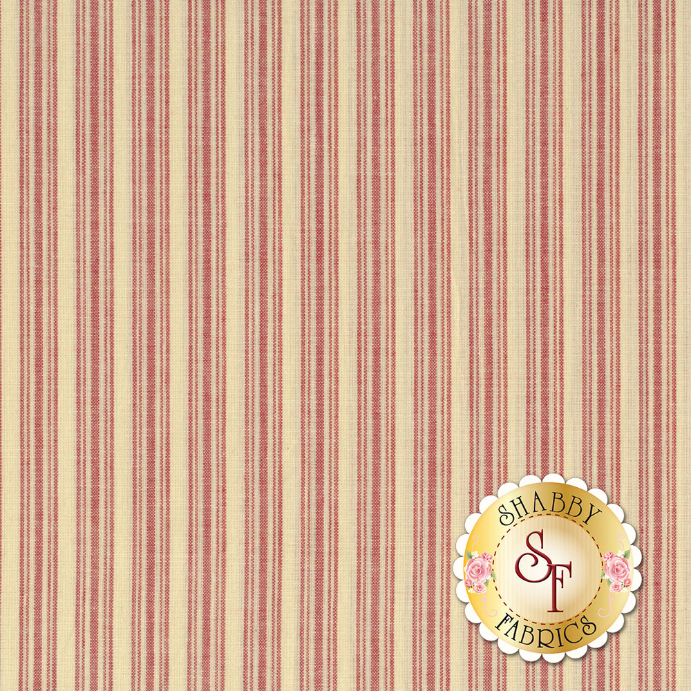 Red stripes on a cream background | Shabby Fabrics