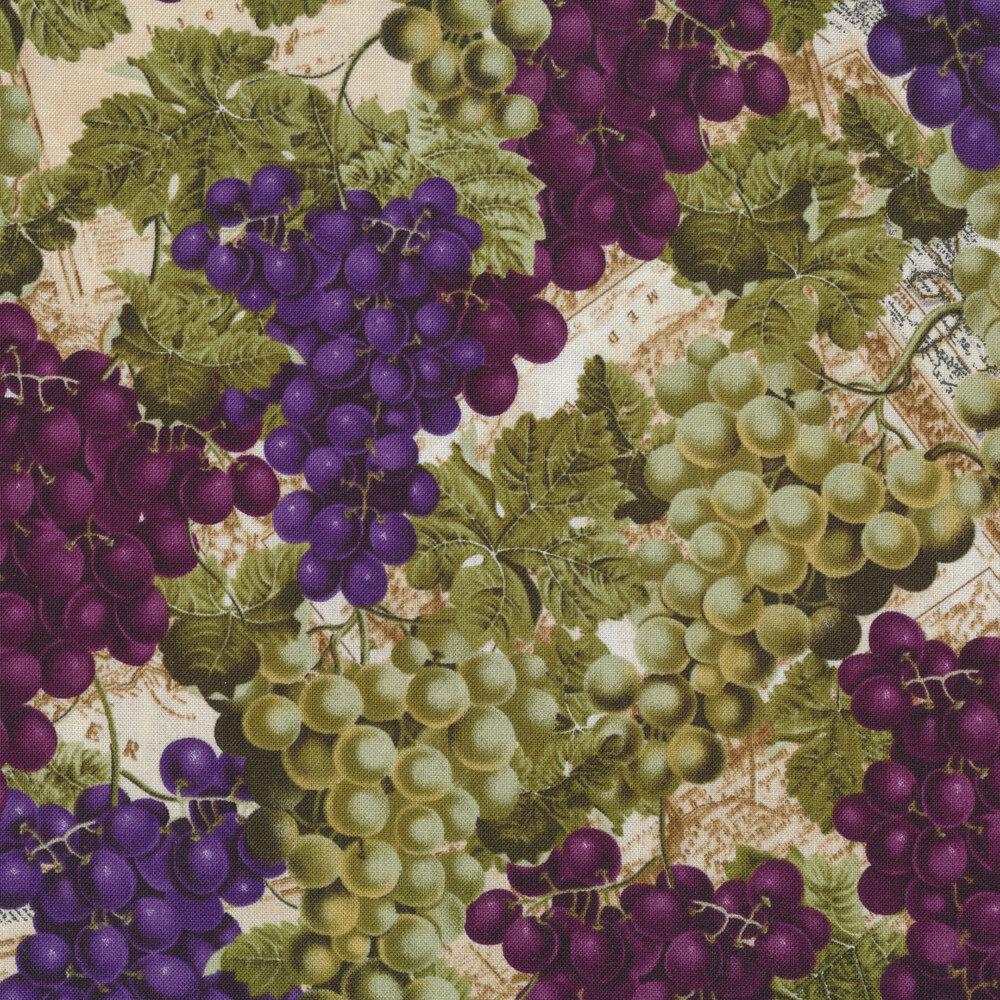 Purple and green grapes on a tonal tan background | Shabby Fabrics