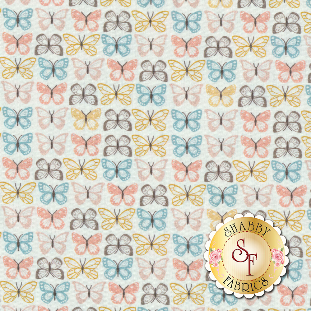 Pink, gray, and yellow butterflies in stripe design on white | Shabby Fabrics