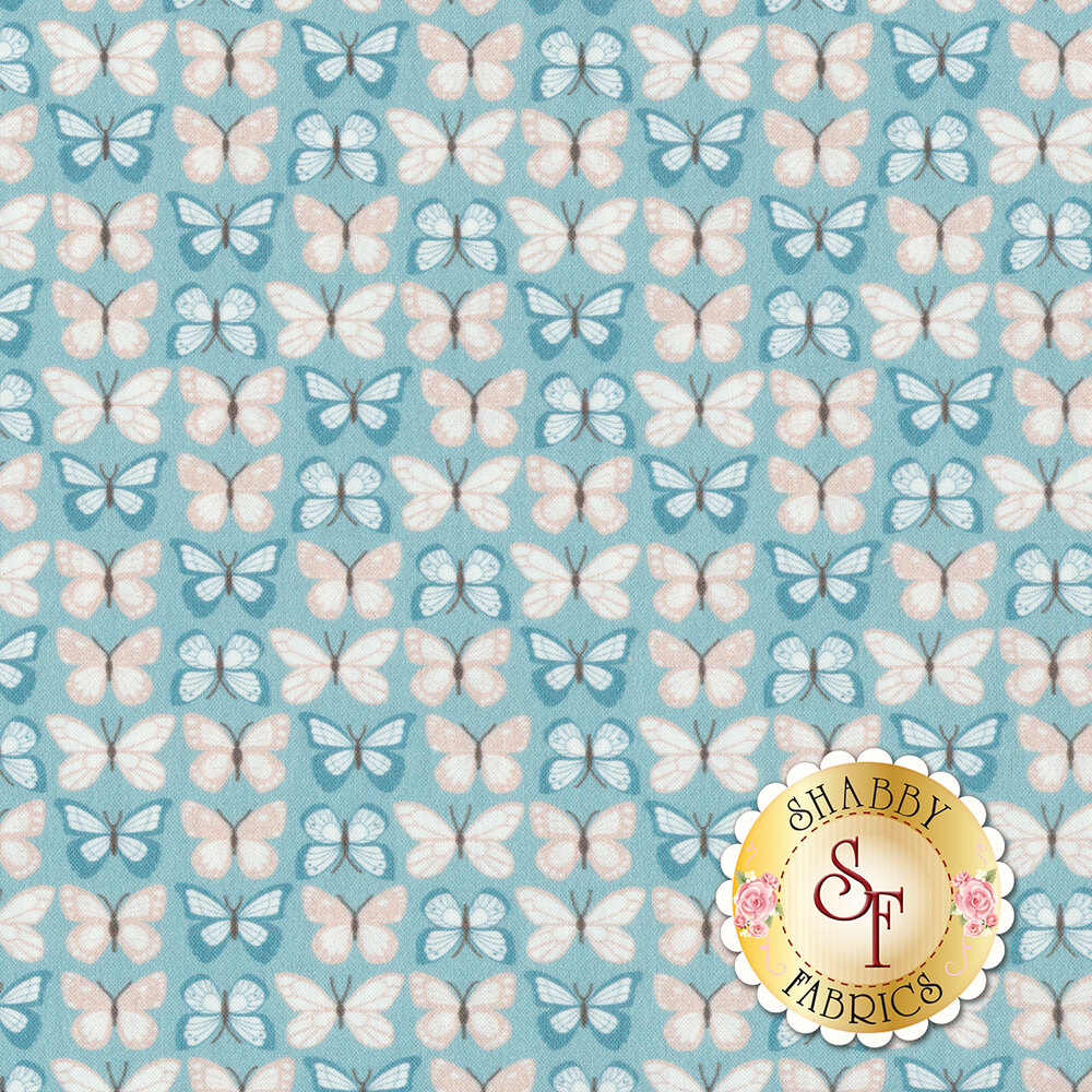 Pink and blue butterflies in stripe design on blue | Shabby Fabrics