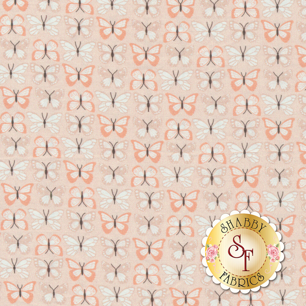 Pink and white butterflies in stripe design on pink | Shabby Fabrics