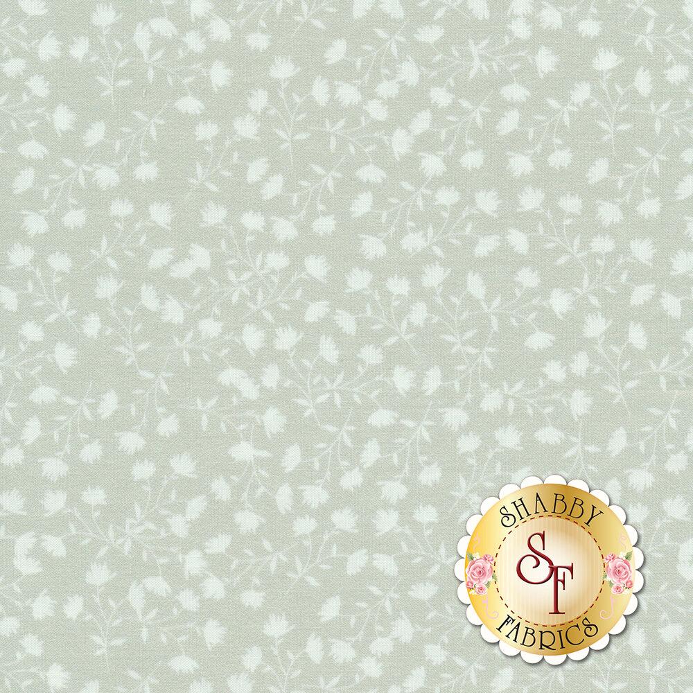 White flowers on vines all over gray | Shabby Fabrics