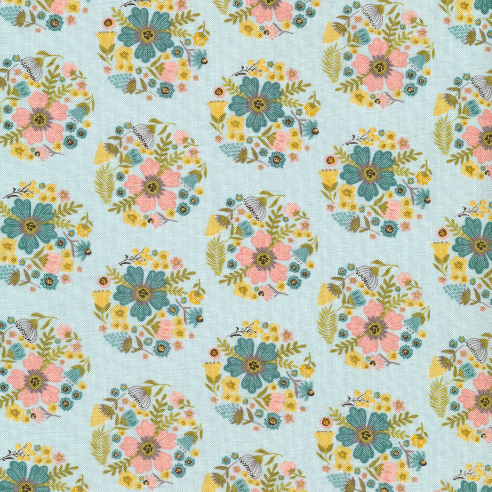Flower blooms in circles all over blue | Shabby Fabrics