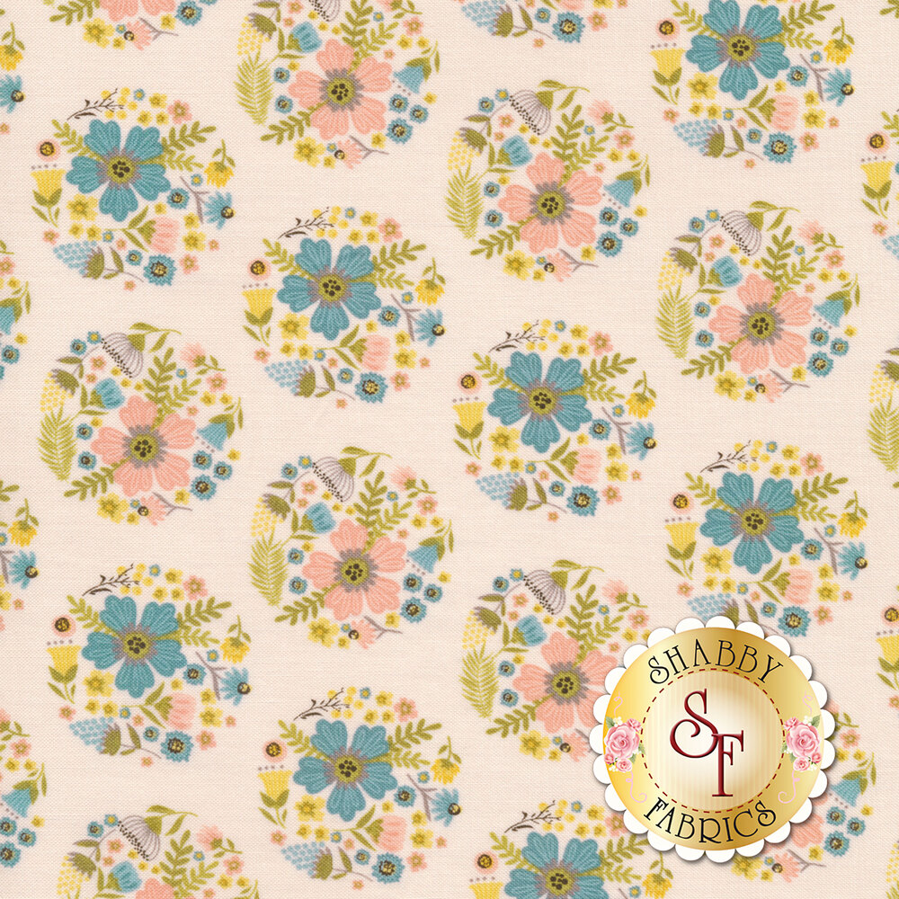 Flower blooms in circles all over pink | Shabby Fabrics