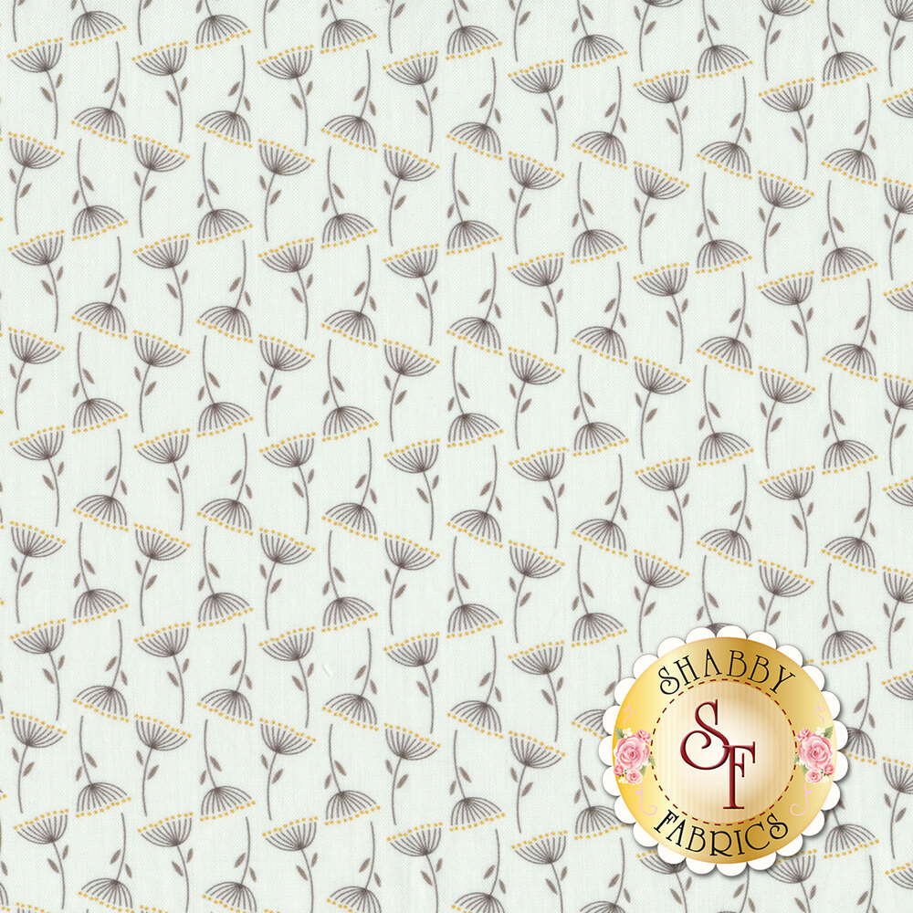 Dark flowers with yellow all over white | Shabby Fabrics