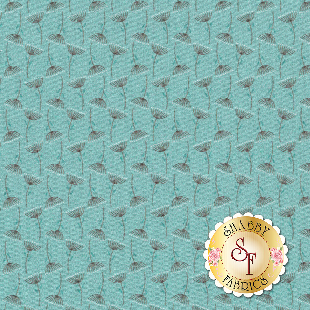 Gray flowers all over blue | Shabby Fabrics