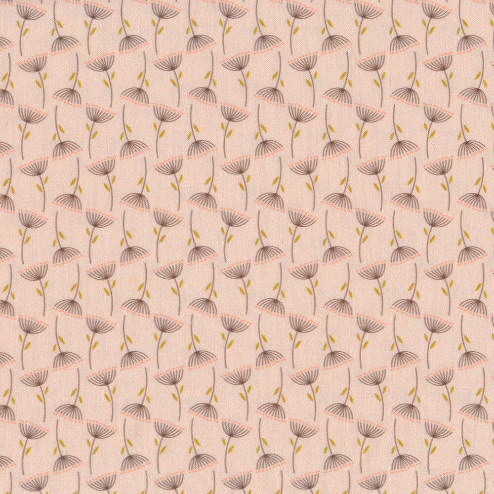 Dark flowers with pink dots all over pink | Shabby Fabrics