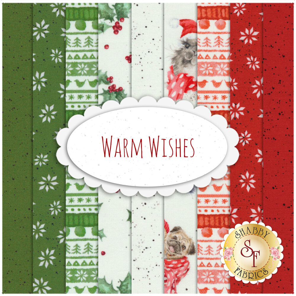 A collage of fabrics included in the Warm Wishes fabric collection   Shabby Fabrics