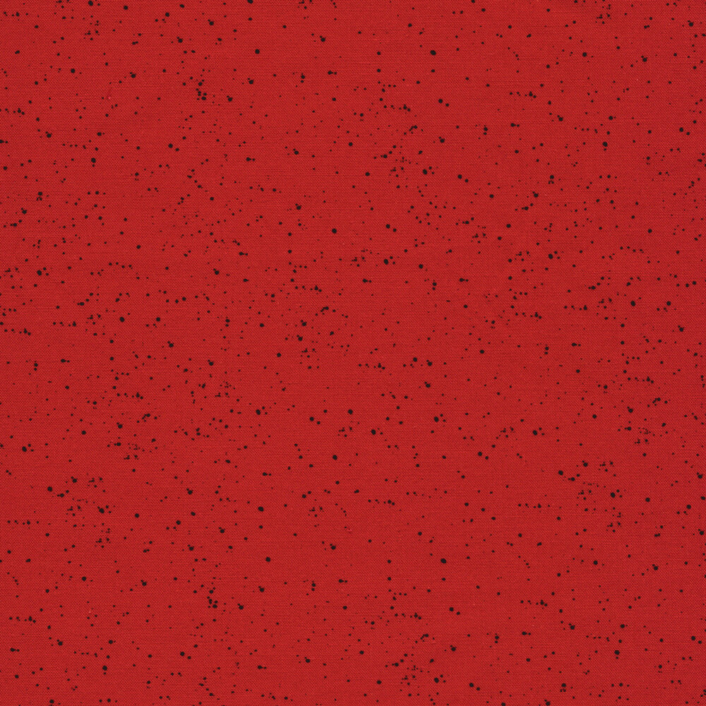 Solid red fabric with black speckled dots | Shabby Fabrics