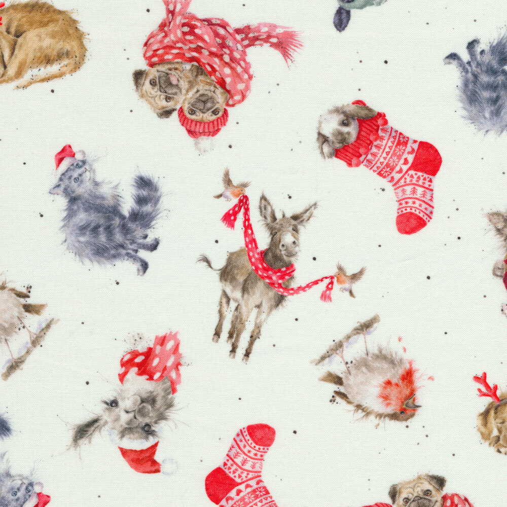 Tossed animals in stockings and scarves on a white background | Shabby Fabrics