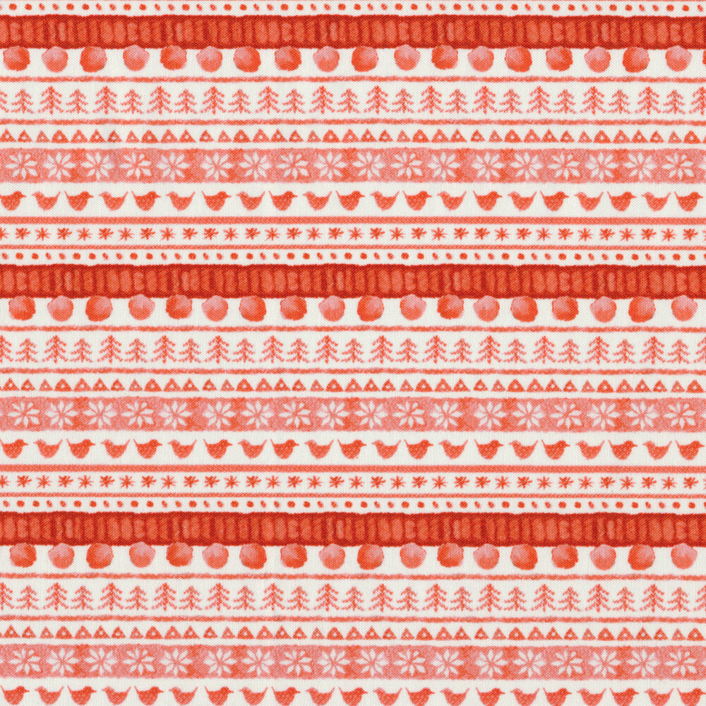 Border stripe with red trees, birds and snowflakes on a white background | Shabby Fabrics