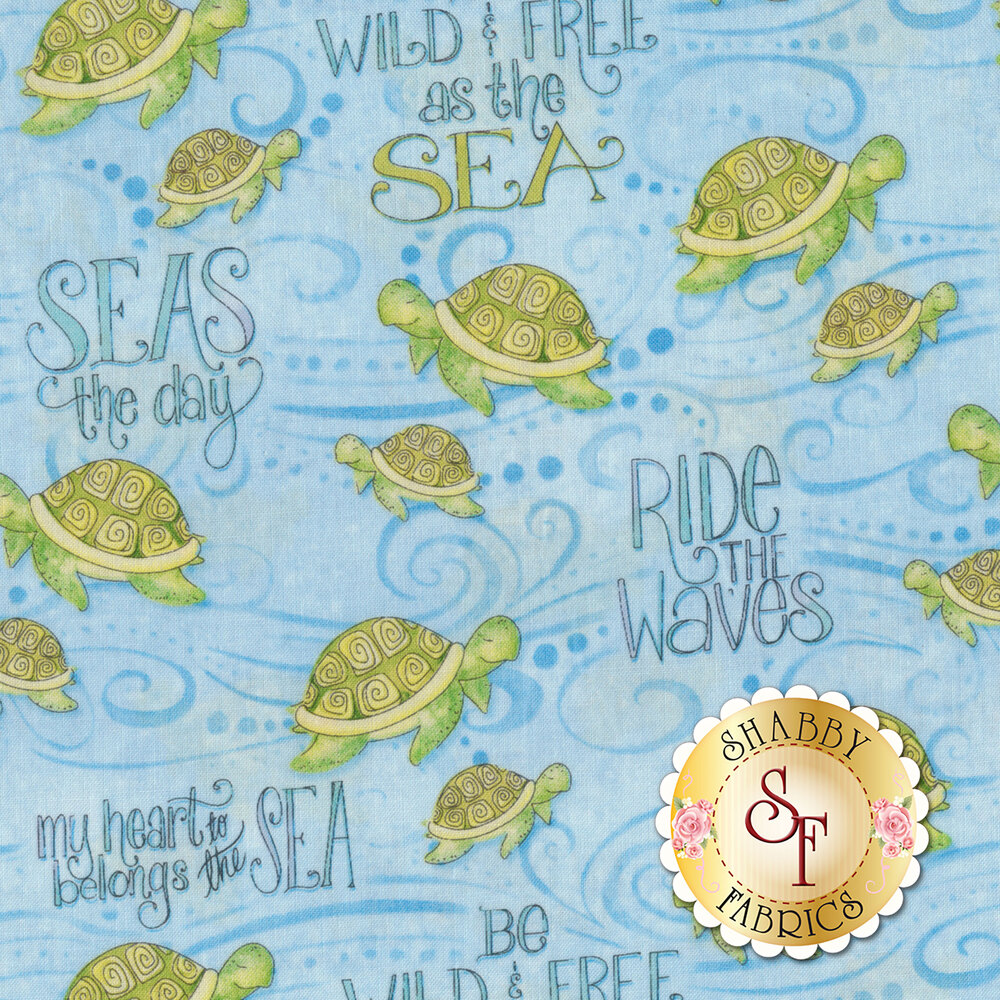 Water Wishes 27566-407 Sea Turtles Blue from Wilmington Prints by Danielle Leone