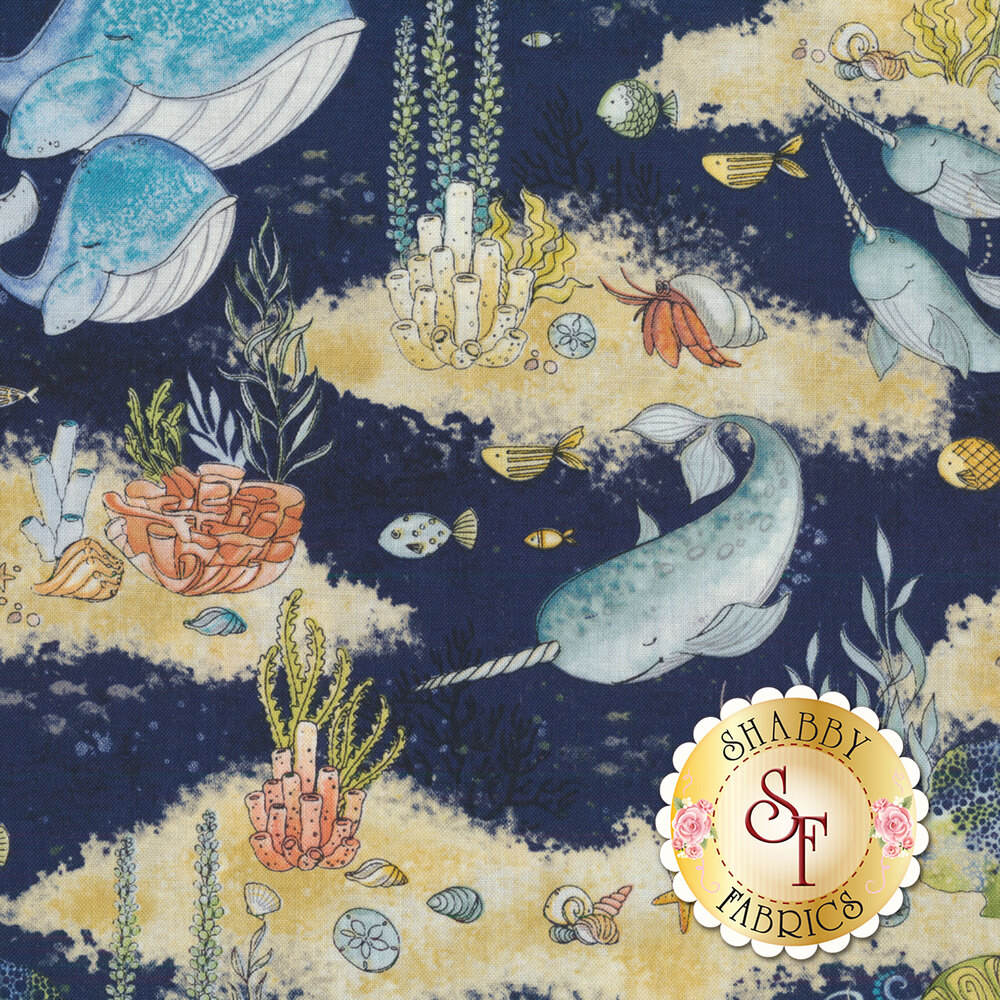Water Wishes 27564-447 Scenic Navy from Wilmington Prints by Danielle Leone