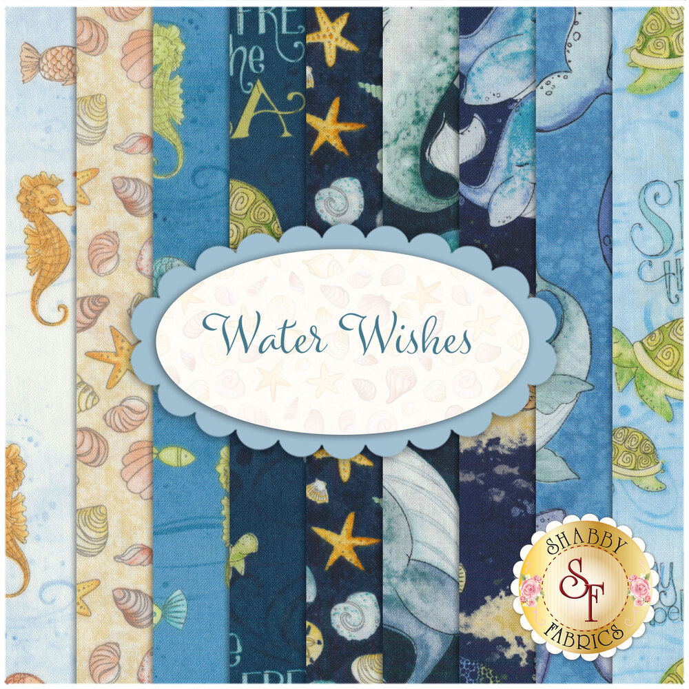 Collage of fabrics included in Water Wishes collection   Shabby Fabrics