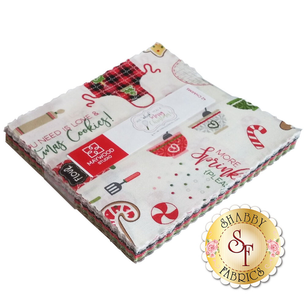 """We Whisk You a Merry Christmas! 5"""" Squares by Maywood"""