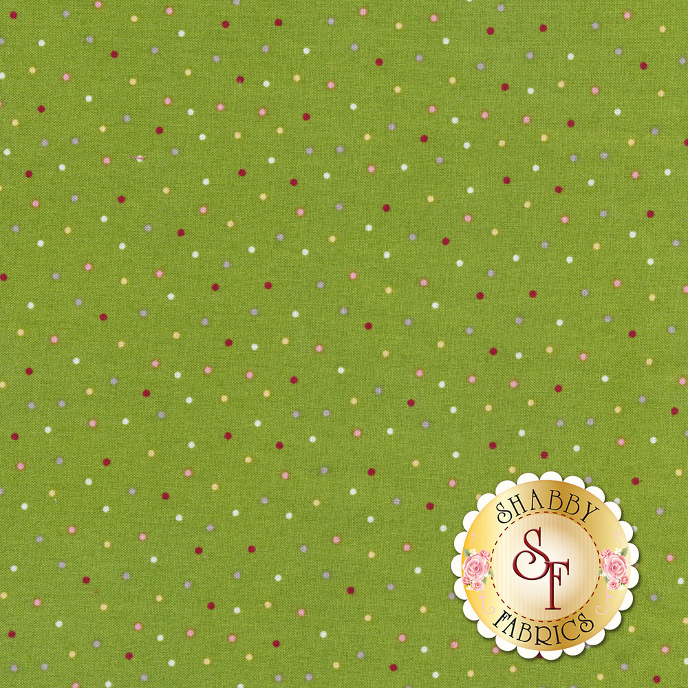 Red, white, and grey small polka dots all over a Christmas green background | Shabby Fabrics