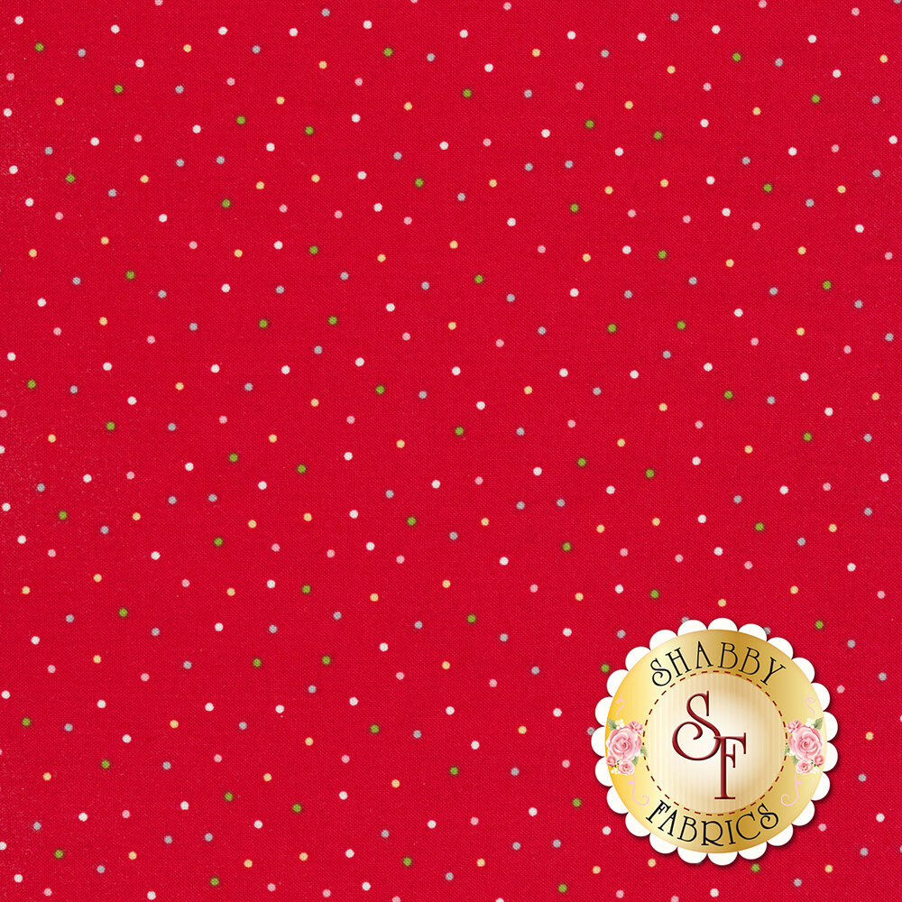 Green, white and grey small polka dots on a Christmas red background | Shabby Fabrics