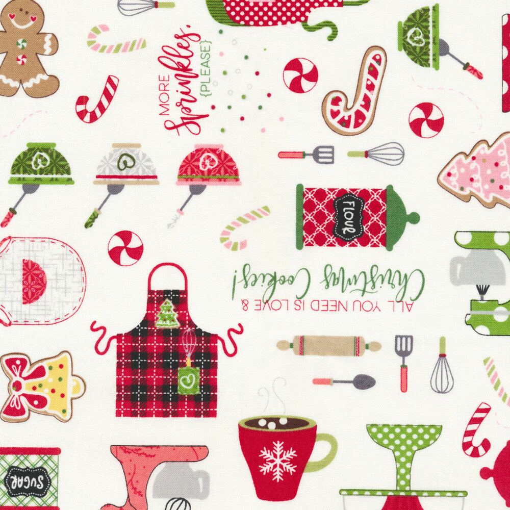 Fun baking utensils and Christmas cookies scattered on a white background | Shabby Fabrics