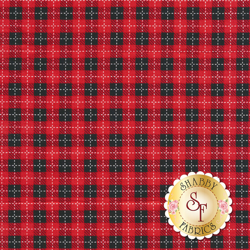 Red and black plaid with white stitching | Shabby Fabrics