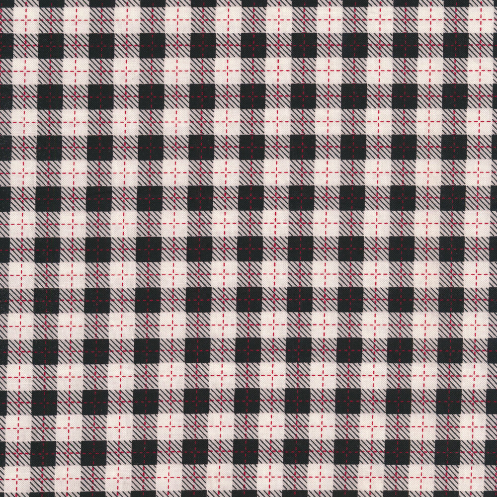 Black and white plaid fabric with red stitching | Shabby Fabrics