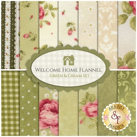 Welcome Home Flannel    14 Half Yard Set - Green & Cream Set by Jennifer Bosworth for Maywood Studio