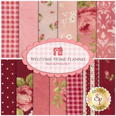 Welcome Home Flannel   13 FQ Set - Red & Pink Set by Jennifer Bosworth for Maywood Studio