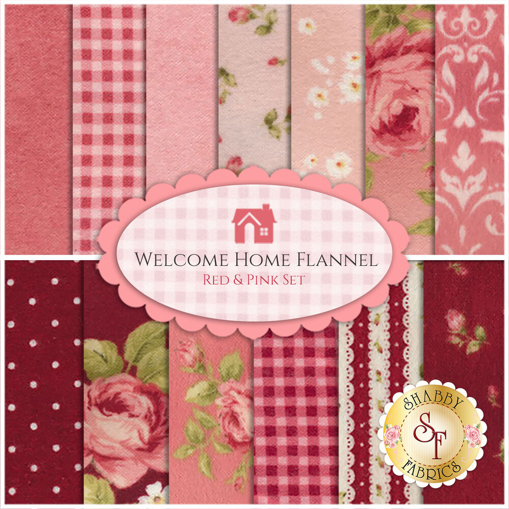Welcome Home Flannel    13 Half Yard Set - Red & Pink Set by Jennifer Bosworth for Maywood Studio Fabrics