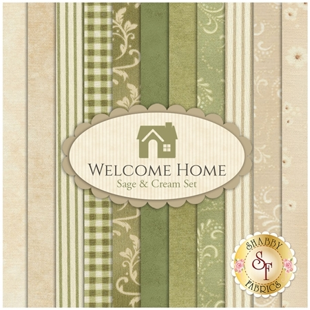 Welcome Home Collection One  11 FQ Set - Sage & Cream Set by Jennifer Bosworth for Maywood Studio Fabrics