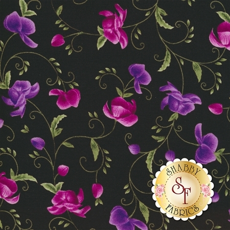 Wild Orchid C5432-Black by Timeless Treasures Fabrics