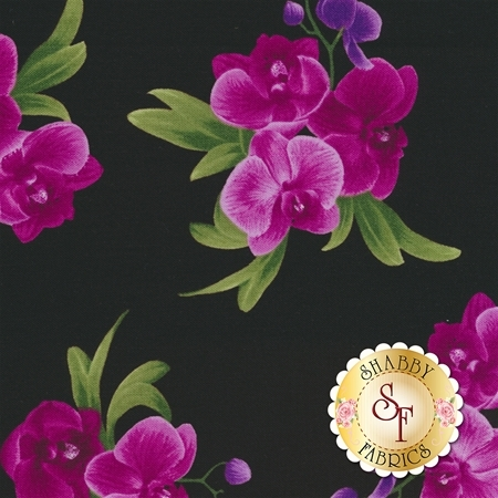 Wild Orchid C5649-Black by Timeless Treasures Fabrics