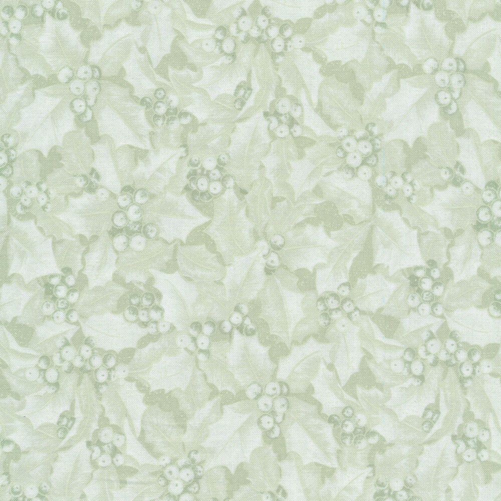 Light green tonal fabric with holly and berries all over