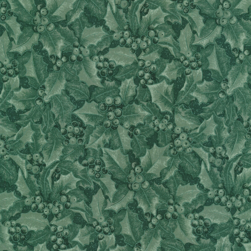Medium green tonal fabric with holly and berries all over