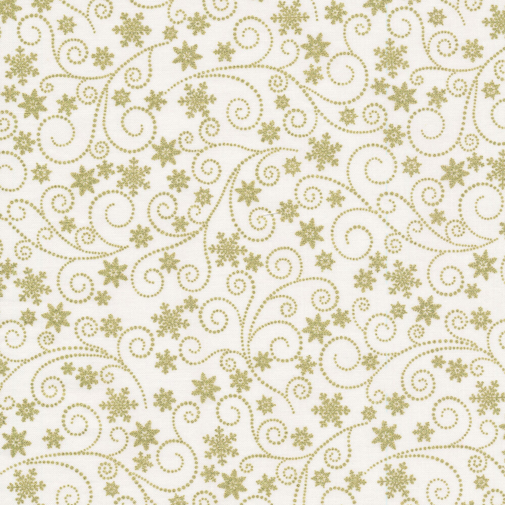 Metallic gold swirls and snowflakes on a white background