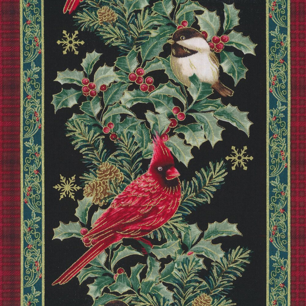 Red, green, and black striped Christmas fabric with holly and berries, ornaments, and metallic
