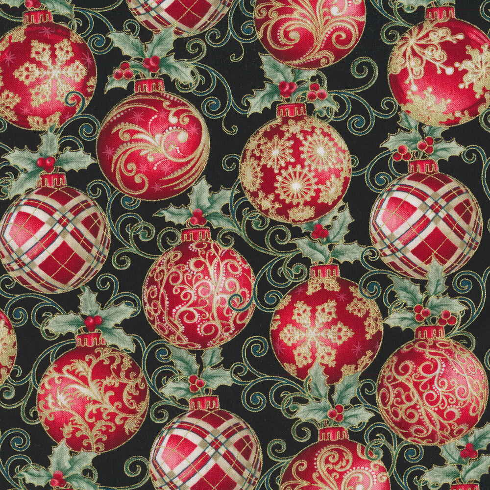 Elegant red ornaments with metallic accents on a black background